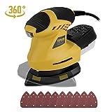 TOPVORK Multischleifer 200W 12000 RPM Schleifer mit 10 Schleifpapiere, 360° rotierendes Schleifkissen, 3M Kabel, Staubbehälter, ideal für das Schleifen