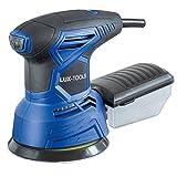 LUX-TOOLS EXS-240 A Exzenterschleifer mit Klett-Befestigung, Drehzahlregelung & Staubsaugeranschluss, inkl. Staubfangbox & Schleifblättern | 230V 240W Schleifmaschine mit 125mm Schleiffläche