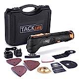 Multifunktionswerkzeug-Tacklife PMT01B Oszillierendes Werkzeug,6 Geschwindigkeiten und Schnellwechselfutter,12V, 2.0Ah Akku, LED-Licht und Koffer,zum Schleifen,Schneiden und Polieren,mit 24 Zubehör