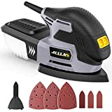 Multischleifer - JELLAS Deltaschleifer, 13500 U/min-Schleifmaschine mit Staubsammler, 12 Stück Schleifpapier, Detailschleifplatte und Fingerschleifvorrichtung enthalten