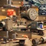 Auf dem Bild sind unterschiedliche Schleifmaschinen zu sehen. Es ist ein Bild welches aus mehreren zusammengeschlossen wurde. Flex, Exzenterschleifer, Winkelschleifer, bandschleifer, Dreieckschleifer,...