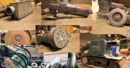 Eine Sammlung von mehreren Bildern. Darauf sind ein Schwingschleifer, Exzenterschleifer, Deltaschleifer, Bandschleifer, Multischleifer zu sehen.