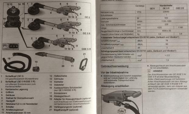 Eine Beschreibung der Flex GE 5 S Schleifgiraffe