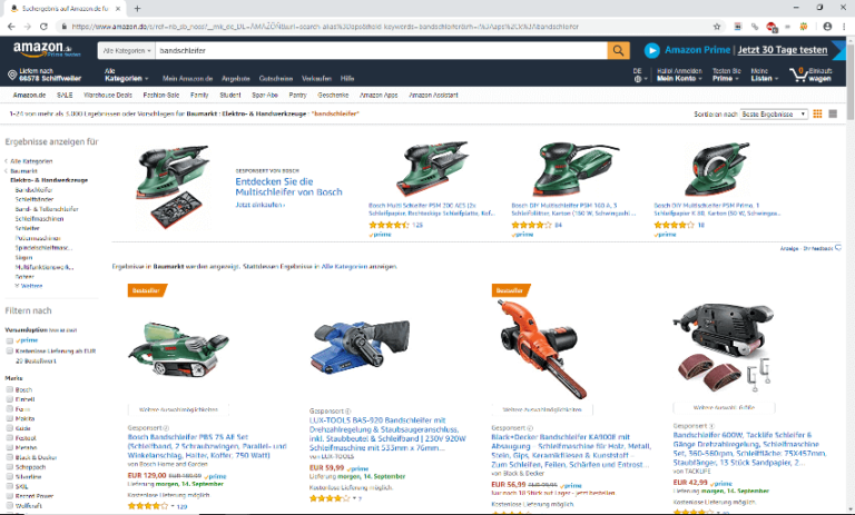 Screenshot - Amazon - Bandschleifer - 13.09.2018