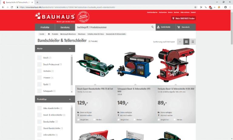 Screenshot - Bauhaus - Bandschleifer - 13.09.2018