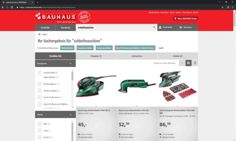 Screenshot - Bauhaus - Startseite -Schleifer-Welt - 18.09.2018