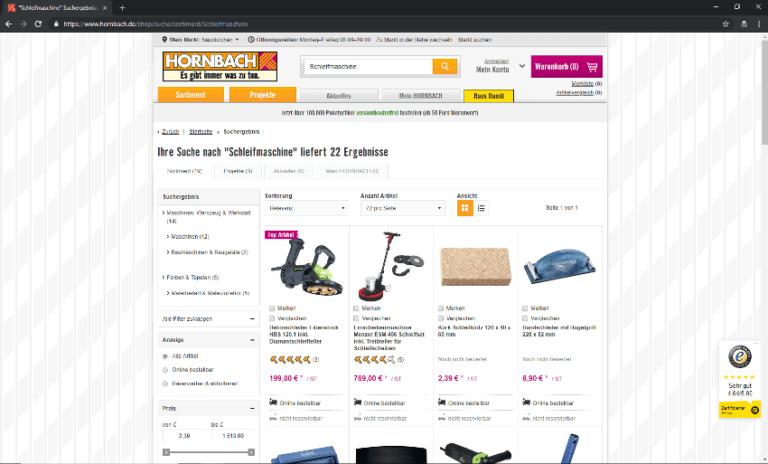 Screenshot - Hornbach - Startseite -Schleifer-Welt - 18.09.2018