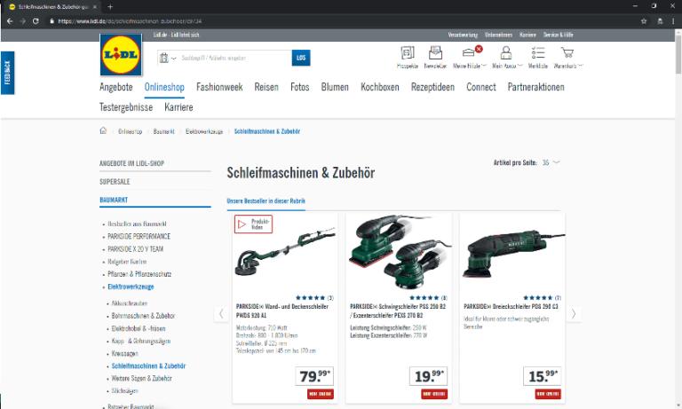 Screenshot - Lidl - Startseite -Schleifer-Welt - 18.09.2018