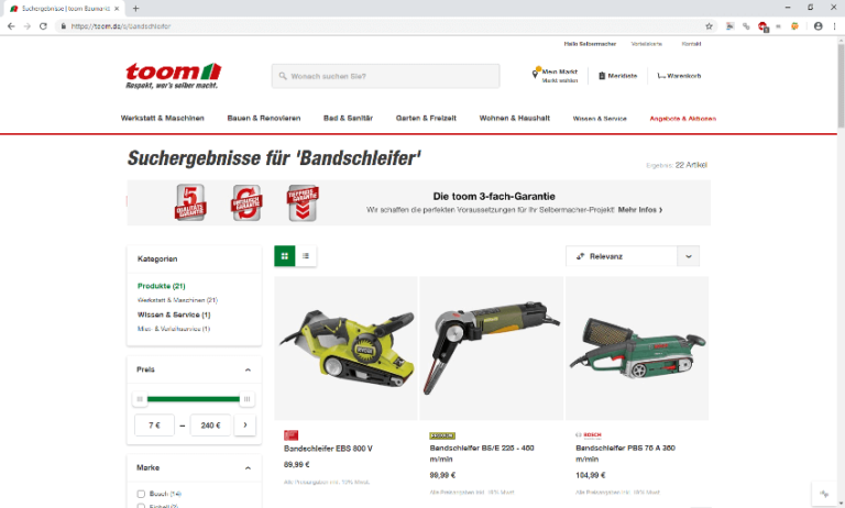Screenshot - Toom - Bandschleifer - 13.09.2018